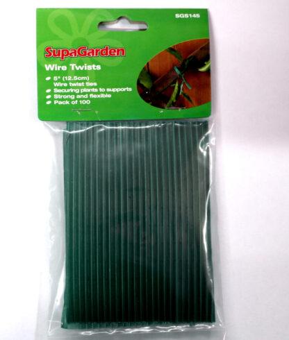 100 X Wire Twist Plastic Coated Garden Wire Plant Ties