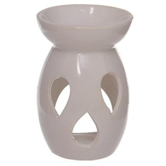 White Ceramic Oil Burner With Teardrop Cut Out  (Ob-159White)