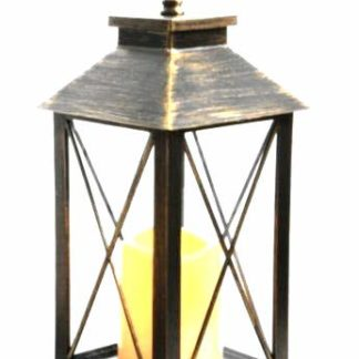 Antique Bronze Led Traditional Hanging Outdoor/Indoor Lantern With Timer 34Cm