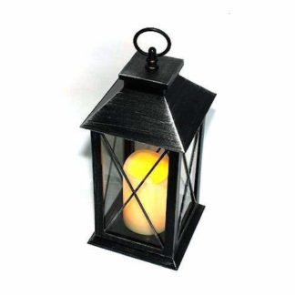 Antique Black Led Traditional Hanging Outdoor/Indoor Lantern With Timer 34Cm