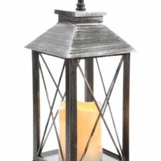 Antique Silver Led Traditional Hanging Outdoor/Indoor Lantern With Timer 34Cm