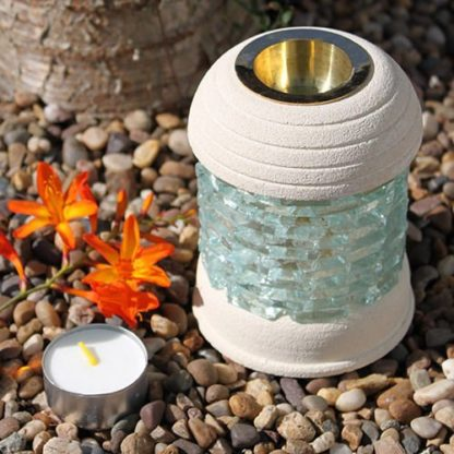 Round Glass Brick Sandstone Oil Burner (Ssob-06)