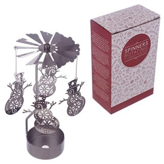 Snowman Tealight Powered Metal Spinning Decoration (Spin09)