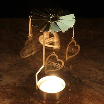 Love Heart Tealight Powered Metal Spinning Decoration (Spin11)