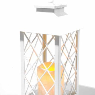 Antique White Led Traditional Hanging Outdoor/Indoor Lantern With Timer 34Cm