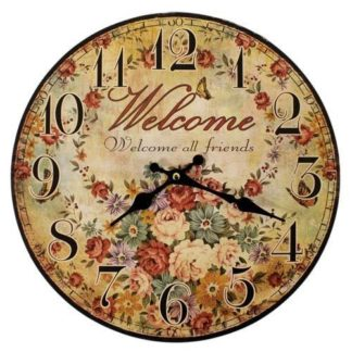 "Retro Vintage 12"" British Wall Clock Designs Welcome All Friends (Britclk-03)"