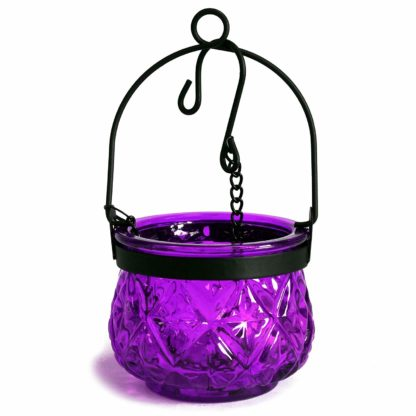 Recycled Hanging Lavender Glass Moroccan Style Candle Holder (Boluz-29)