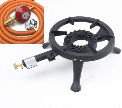 Lifestyle Gb24 Large 5.8Kw Round Cast Iron Tripod Boiling Ring Hose & Regulator