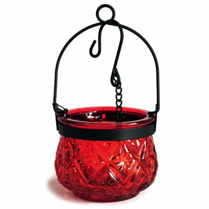 Recycled Hanging Ruby Glass Moroccan Style Candle Holder (Boluz-28)