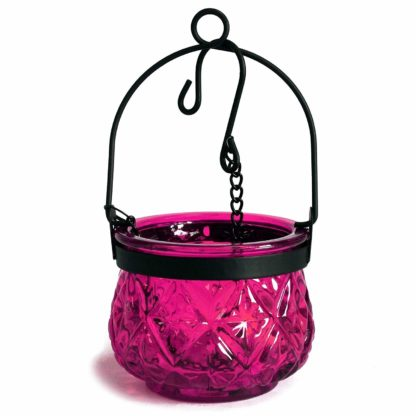 Recycled Hanging Violet Glass Moroccan Style Candle Holder (Boluz-32)