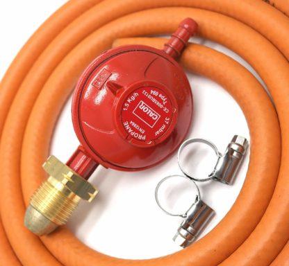 Calor Gas Brand 37Mbar Propane Gas Regulator 2Mt Hose & 2 Clips 5 Year Warranty