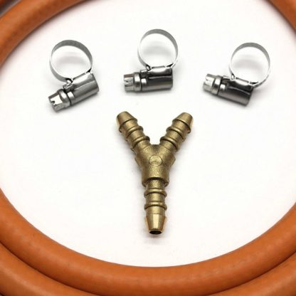 3 Way Y Connector Splitter Kit With 2Mt 8Mm I/D Gas Hose & 3 Clips