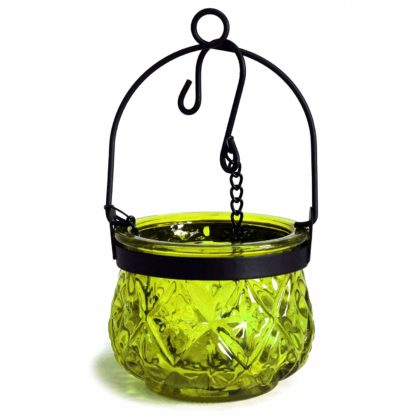 Recycled Hanging Moss Glass Moroccan Style Candle Holder (Boluz-27)
