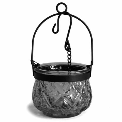 Recycled Hanging Gray Glass Moroccan Style Candle Holder (Boluz-30)