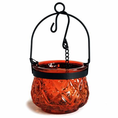 Recycled Hanging Amber Glass Moroccan Style Candle Holder (Boluz-26)