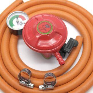 Igt Patio Gas 27Mm Regulator With Pressure Gauge & 2 M Hose +2 Clips 5 Y Warrant