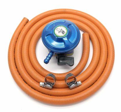 Igt 21Mm 28Mbar Butane Gas Regulator & 1 Metre Hose Kit With 2 Clips