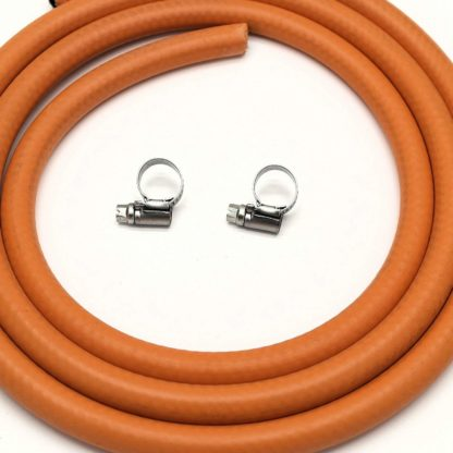 Calor Gas Brand 2Mt 8Mm Orange Lpg Gas Hose For Propane/Butane With Clips