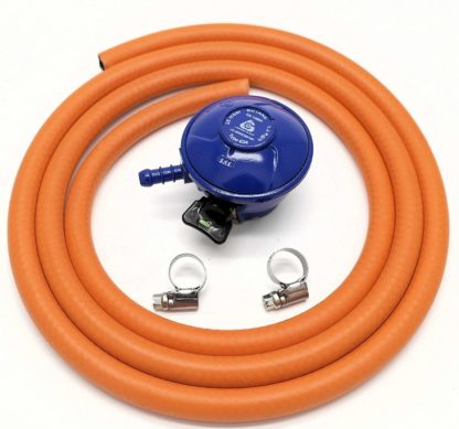 Cavagna 21Mm 28Mbar  Butane Gas Regulator & 2 Metre Hose & 2 Clips 5Y Warranty