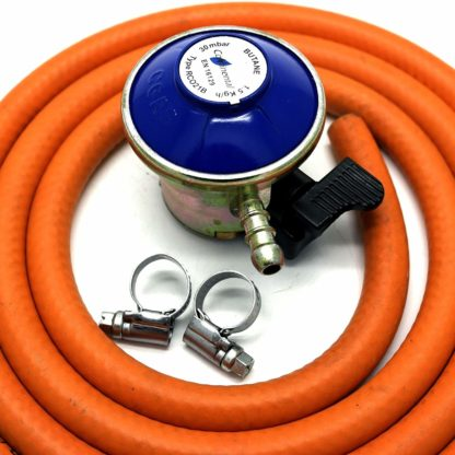 Butane Gas Regulator With 2M Hose & 2 Clips Fits Calor Gas /Flogas 21Mm Cylinder
