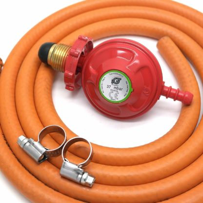 Igt Hand Tight Propane Gas Regulator & 1M Hose Kit & 2 Clips 5 Year Warranty