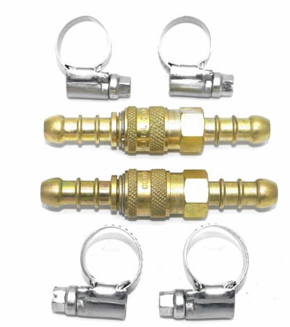 2 X Quick Release Fittings Coupling For 8Mm Propane/Butane Hose + 4 Clips (65)