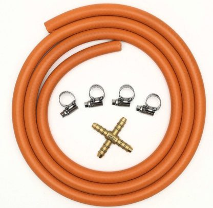 4 Way Connector Splitter Kit With 2Mt 8Mm I/D Gas Hose & 4 Clips