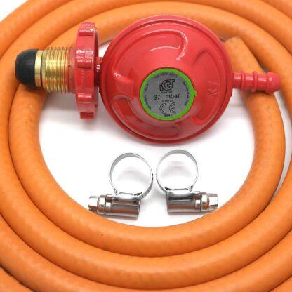 Igt Handwheel 37Mbar Propane Gas Regulator & 2M Hose & 2 Clips 5 Year Warranty