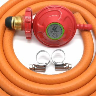 Igt Hand Tight Propane Gas Regulator & 1M Hose Kit & 2 Clips 5 Year Warranty