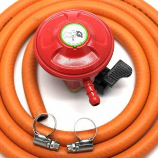 Igt Bbq / Patio Gas 27Mm Regulator & 2 Meter Hose Kit & 2 Clips 5 Year Warranty