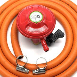 Igt Bbq / Patio Gas 27Mm Regulator & 2 Meter Hose Kit & 2 Clips 5 Year Warranty