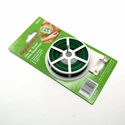 Clip N Twist Plastic Coated Garden Wire Plant Ties With Dispenser 30M