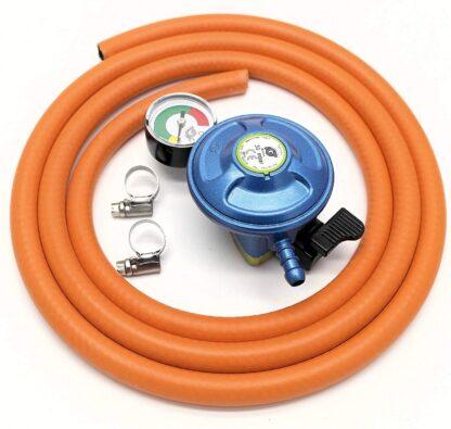 Igt Butane 21Mm Gas Regulator + Pressure Gauge &1 Mt Hose & 2 Clips 5 Y Warranty