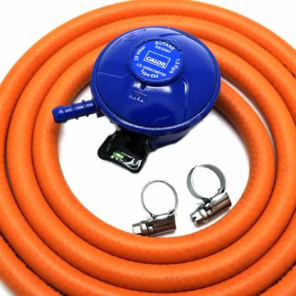 Calor Gas Brand Butane 21Mm Gas Regulator 1Mt Hose & 2 Clips 5 Year Warranty