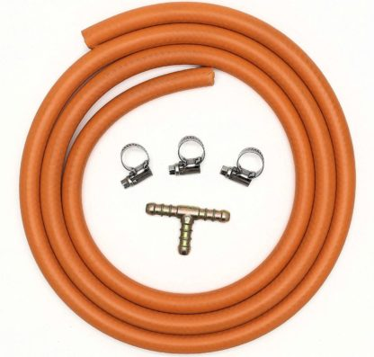 3 Way T Connector Splitter Kit With 2Mt 8Mm I/D Gas Hose & 3 Clips