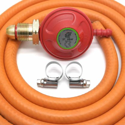 Igt 37Mbar Propane Gas Regulator & 2M Hose Kit With 2 Clips 5 Year Warranty