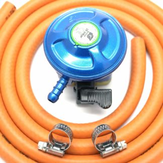 Igt 21Mm 28Mbar Butane Gas Regulator & 1 Metre Hose Kit With 2 Clips
