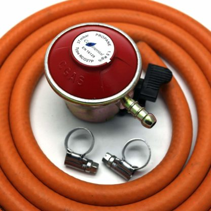 Patio Gas Regulator 27Mm Clip On With 1M Hose + 2 Clips Fits Calor / Flogas