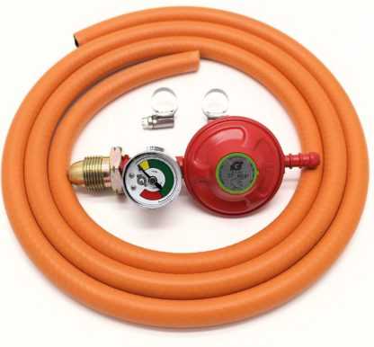 Igt 37Mbar Propane Gas Regulator With Pressure Gauge & 2 M Hose Kit With 2 Clips