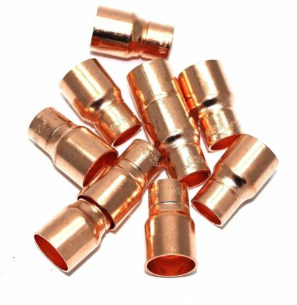 15Mm To 10Mm End Feed Copper Straight Fitting Reducing Coupling 10 Pack (75)