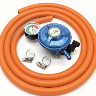 Igt Butane 21Mm Regulator With Pressure Gauge & 2 M Hose Kit Clips 5 Y Warranty
