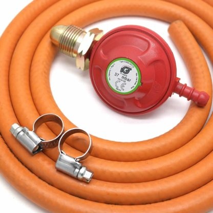 Igt Propane Gas Regulator & 2 Meter Hose & 2 Clips For Boiling Ring, Patio, Bbq