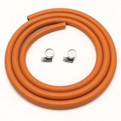 1M 8Mm I/D Lpg Butane/Propane Gas Hose With 2 Stainless Band Hose Clips
