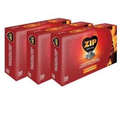 3 Packs Of Zip High Performance Firelighters 30 Pack